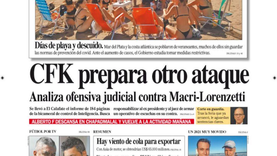 tapa de Diario PERFIL domingo 3 de enero 2021