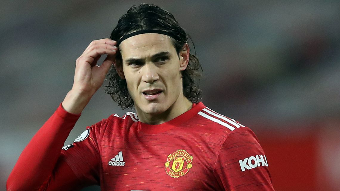 Manchester United's Uruguayan striker Edinson Cavani during the English Premier League football match between Manchester United and Wolverhampton Wanderers at Old Trafford in Manchester, north west England, on December 29, 2020.