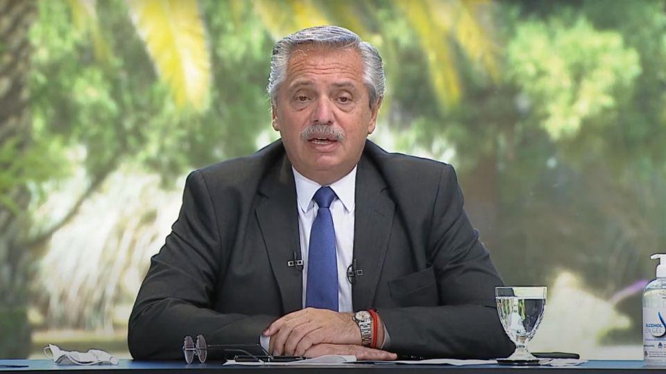El presidente Alberto Fernández, desde Olivos.