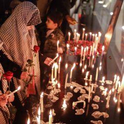 Irak, Bagdad: los iraquíes conmemoran el primer aniversario de la muerte del comandante militar iraní y jefe de sus Fuerzas Quds, el general Qasem Soleimani, en el lugar de su asesinato por parte de Estados Unidos cerca del aeropuerto de Bagdad. | Foto:Ameer Al Mohammedaw / DPA