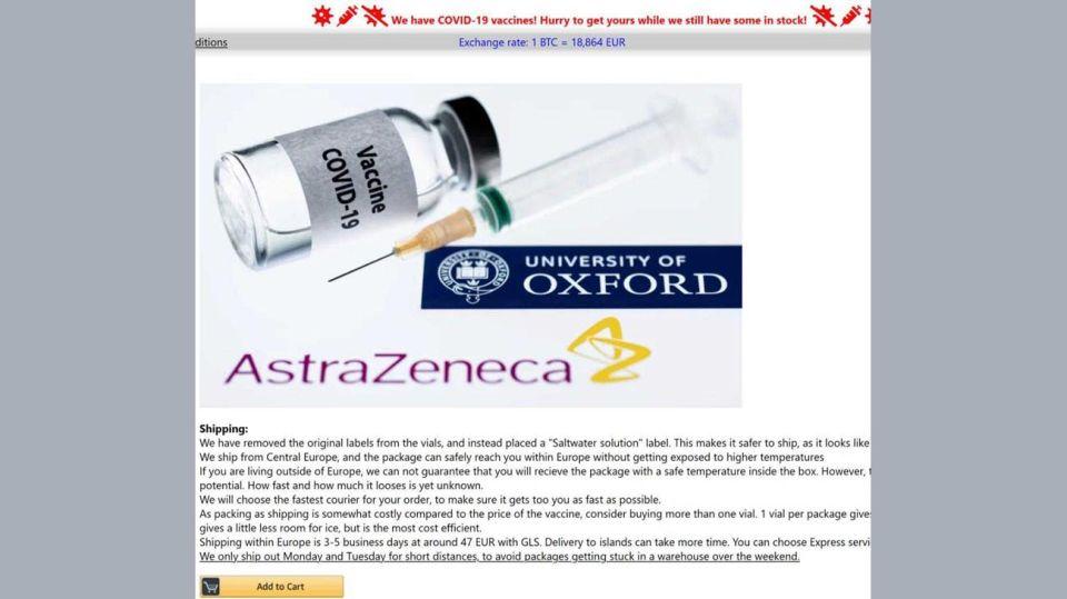 Venta de falsas vacunas en la Dark Web 20210106