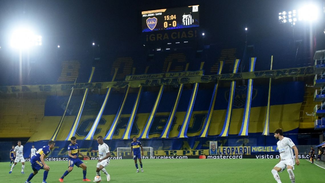 Picture taken during the Copa Libertadores semifinal football match between Argentina's Boca Juniors and Brazil's Santos at La Bombonera stadium in Buenos Aires, on January 6, 2021.