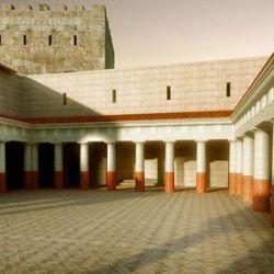 El patio está ubicado en Macherus, un pequeño fuerte cercano al Mar Muerto, en la actual Jordania.