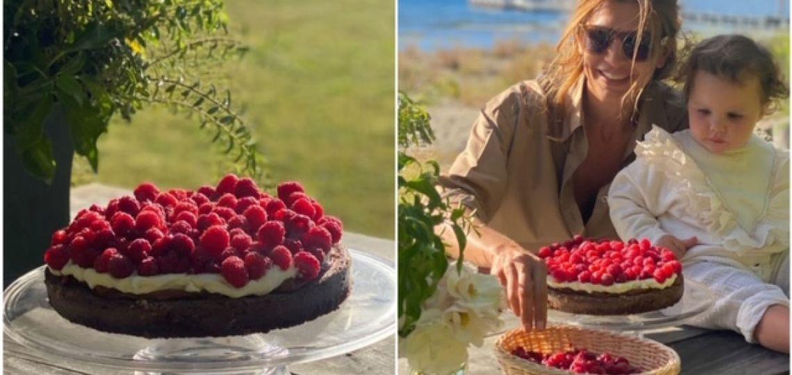 Juliana Awada y una exquisita receta para hacer una torta de chocolate con frambuesas