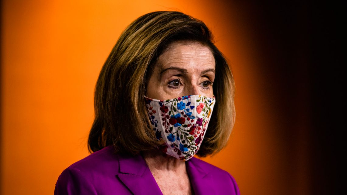 Speaker of the House Nancy Pelosi calls for the removal of President Donald Trump from office either by invocation of the 25th Amendment by Vice-President Mike Pence and a majority of the Cabinet members or impeachment at the US Capitol on January 7, 2021 in Washington, DC.