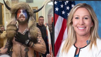Jake Angeli y la congresista Marjorie Taylor Greene son adeptos a QAnon, el movimiento que cree que pedófilos protegidos por Clinton, Obamas, Soros, Merkel y otros, boicotean a Trump.