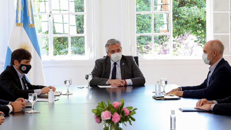 El presidente reunido con Horacio Rodríguez Larreta y Axel Kicillof