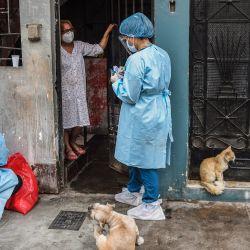 Un trabajador de salud peruano se prepara para realizar una prueba de COVID-19 a una mujer en su casa del distrito El Agustino en Lima. - Gobierno peruano reinició la prueba de COVID-19 casa por casa en pacientes mayores de 60 años este jueves en barrios vulnerables de Lima y en los provinciales, en busca de contener una segunda ola de la pandemia de Coronavirus. | Foto:Ernesto Benavides / AFP