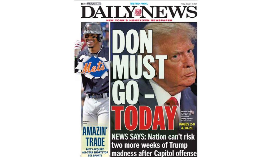 """""""Te debes ir hoy"""": tapa del diario de Nueva York sobre Trump."""