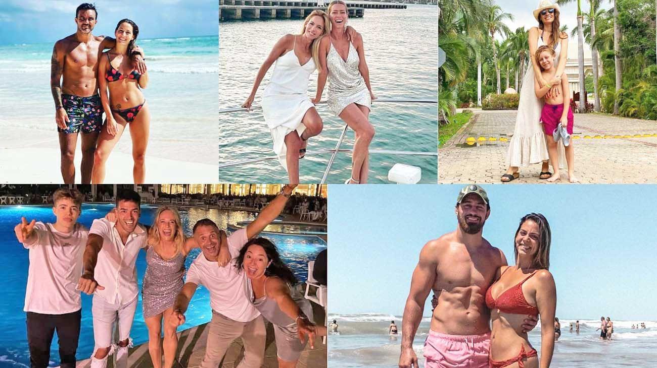 Sol. (Arr. de izq. a der.). Cubero y Viciconte en la Riviera Maya. Nicole Neumann. en Miami. Pampita y sus hijos viajaron a México. Mientras que Lapegüe y su familia vacacionan en Punta Cana. Por su parte, Belén Lucius y el Puma Javier Ortega Desio eligieron las playas de Necochea.