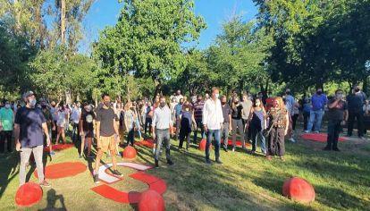 SUMAR. Bee Sellares, De Loredo, Arduh y Fabre en el acto de ayer por la tarde en el Parque Sarmiento.