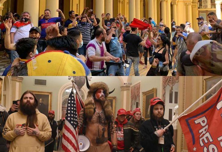 Casa Rosada - Capitolio. El ingreso de barras durante el velorio de Maradona y de fans de Trump al Capitolio.