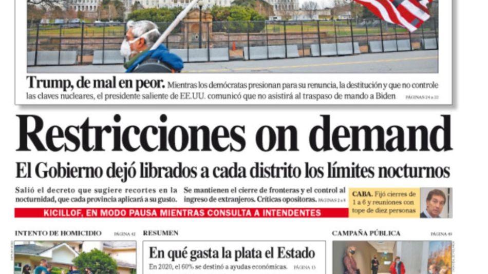 La tapa del sábado 9 de enero del Diario Perfil.