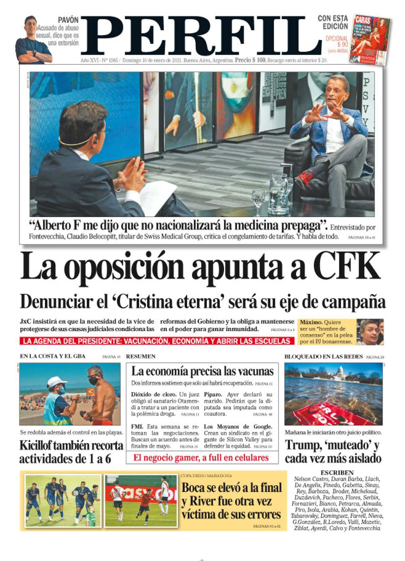 La tapa de Diario PERFIL del domingo 10 de enero de 2021.
