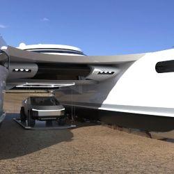Esta curiosa embarcación se pensó primero como un vehículo militar, pero por diversas cuestiones terminó ideándose como un superyate.