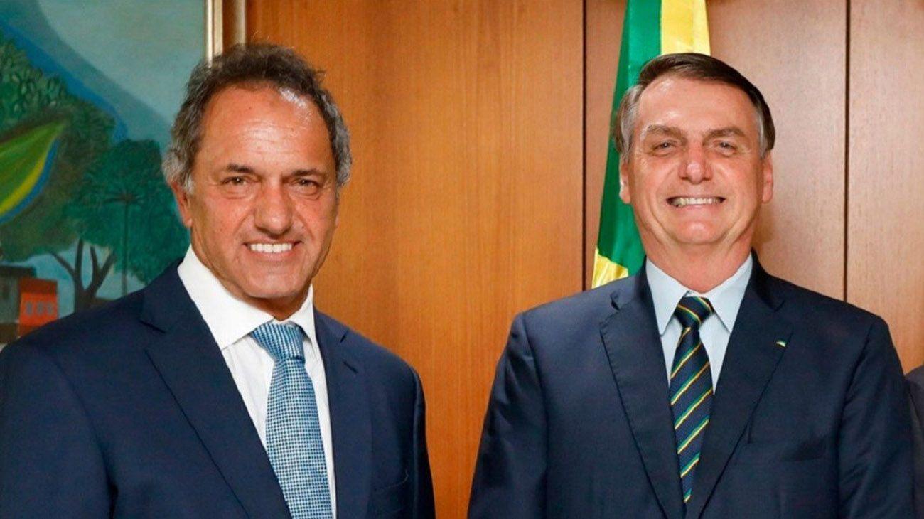 Jair Bolsonaro y el embajador Daniel Scioli en el Palacio del Planalto