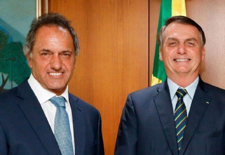 Jair Bolsonaro y el embajador Daniel Scioli en el Palacio del Planalto 20210113