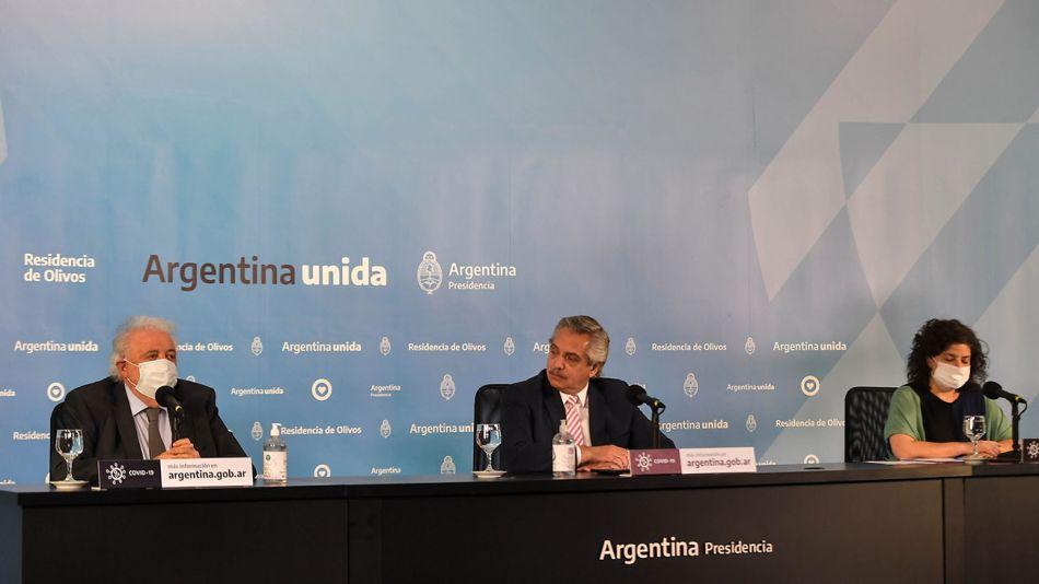 Alberto Fernández, Ginés González García y Carla Vizzotti 20210113