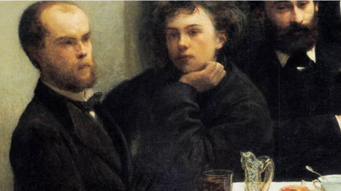 Dos de los poetas malditos de Francia, Arthur Rimbaud y Paul Verlaine, retratados por el pintor Henri Fantin-Latour.