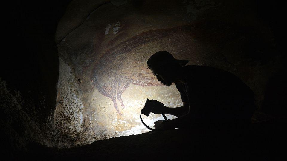 La imagen de un jabalí en tamaño real descubierta en la isla de Sulawesi data de alrededor de 45.500 años.