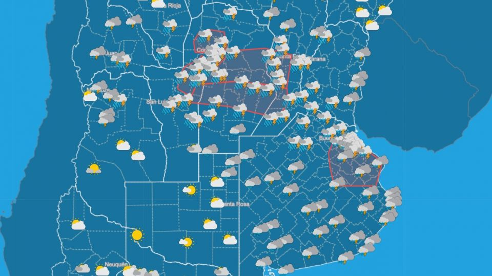 Pronostico del tiempo 15 de enero 2021. Crédito: Gentileza Servicio Meteorológico Nacional