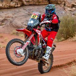 Una de las claves del éxito del argentino a sido su moto, la Honda CRF450 Rally.