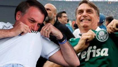 Jair Bolsonaro con la camiseta de el Santos y de Palmeiras