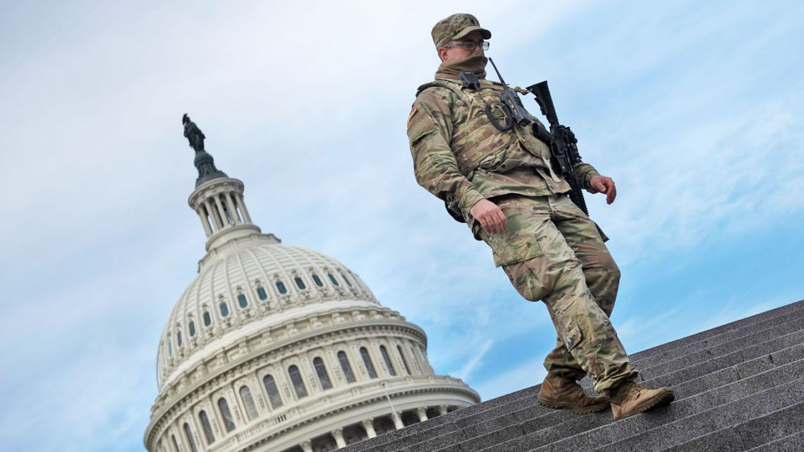 A member of the National Guard provides security at the US Capitol on January 14, 2021, in Washington, DC.