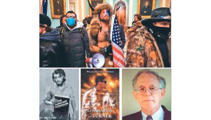 Protagonistas. Arriba, el ataque al Capitolio del pasado 6 de enero. Abajo, izq., el joven William Powell y su libro. Al lado, Los diarios de Turner y su autor.