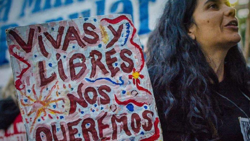 Ivana Soledad Suárez en una marcha de Ni Una Menos