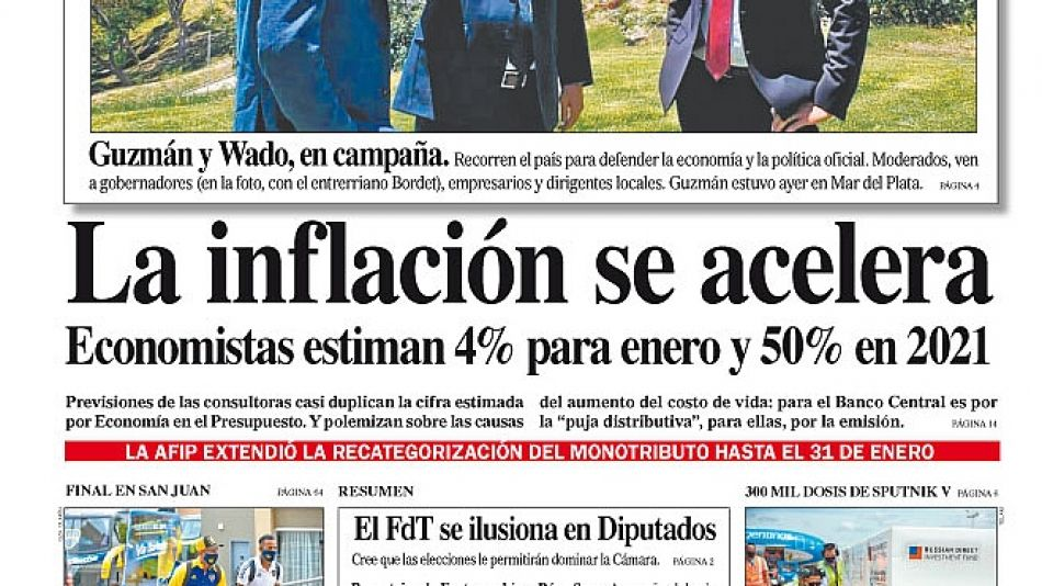 La tapa del Diario PERFIL del domingo 17 de enero de 2021.