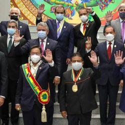 Duque, Abdo Benítez, Alberto Ferández y otros, en la asunción de Luis Arce en Bolivia.  | Foto:CEDOC