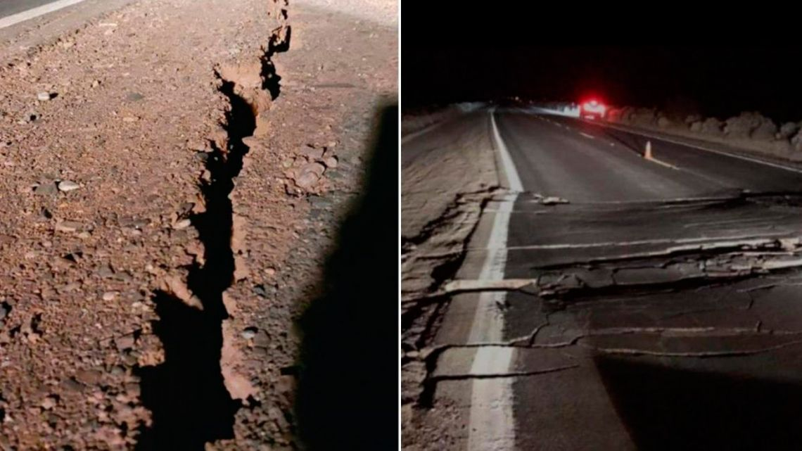 An image released by the Agencia San Juan shows damage from the quake.