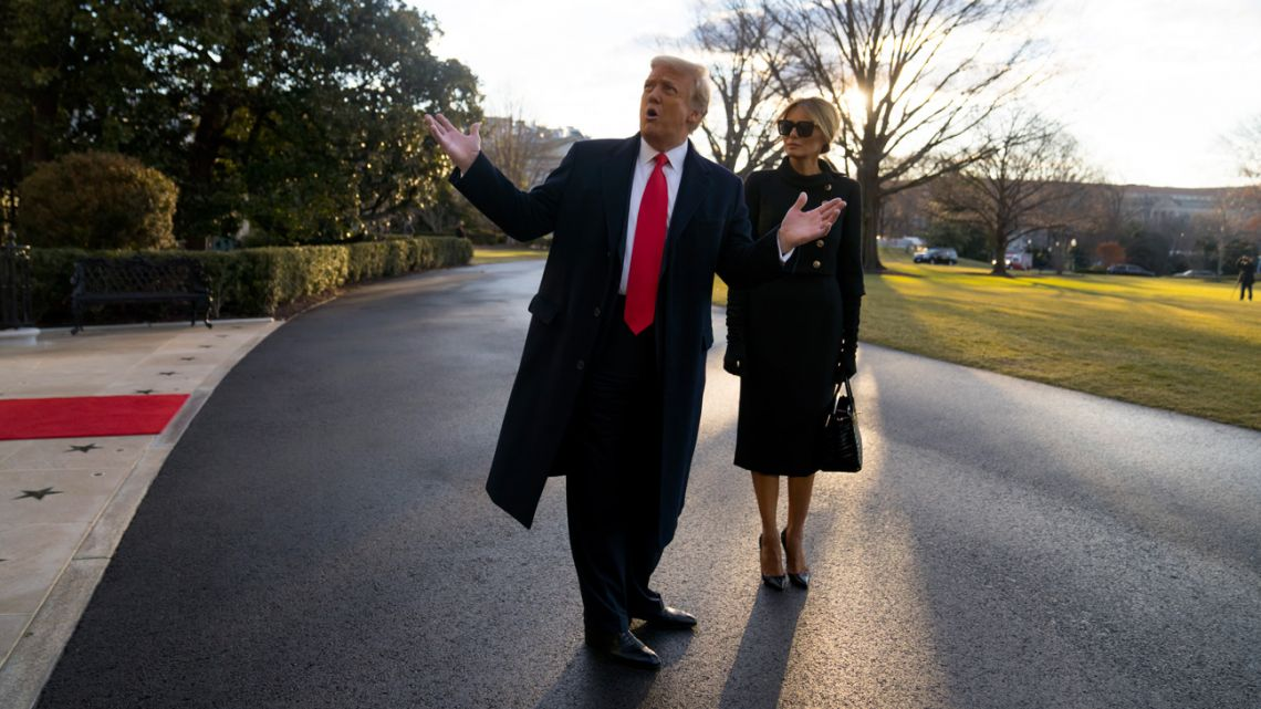 Outgoing US President Donald Trump and First Lady Melania Trump depart the White House on January 20, 2021 in Washington DC.