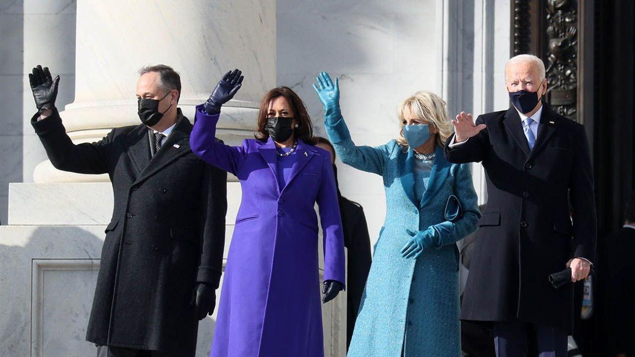 Joe Biden, Kamala Harris, Douglas Emhoff y Jill Biden en la asunción.. | Foto:AFP.