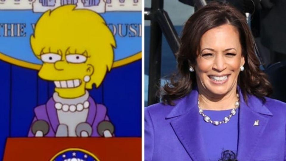 La similitudes entre Lisa Simpson y la vicepresidenta Kamala Harris.
