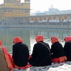 Los devotos sij rinden homenaje en la víspera del aniversario del nacimiento del décimo gurú sij Gobind Singh en el Templo Dorado de Amritsar. | Foto:Narinder Nanu / AFP