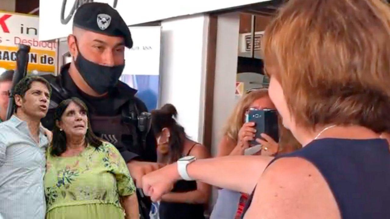 Axel Kicillof con Teresa García - Patricia Bullrich saludada por un policía en Villa Gesell | Foto:montaje