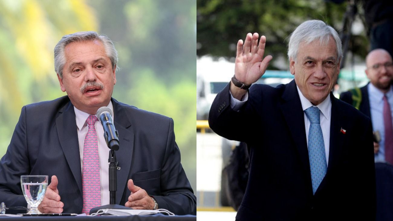 Alberto Fernández visita a Sebastián Piñera en Chile.