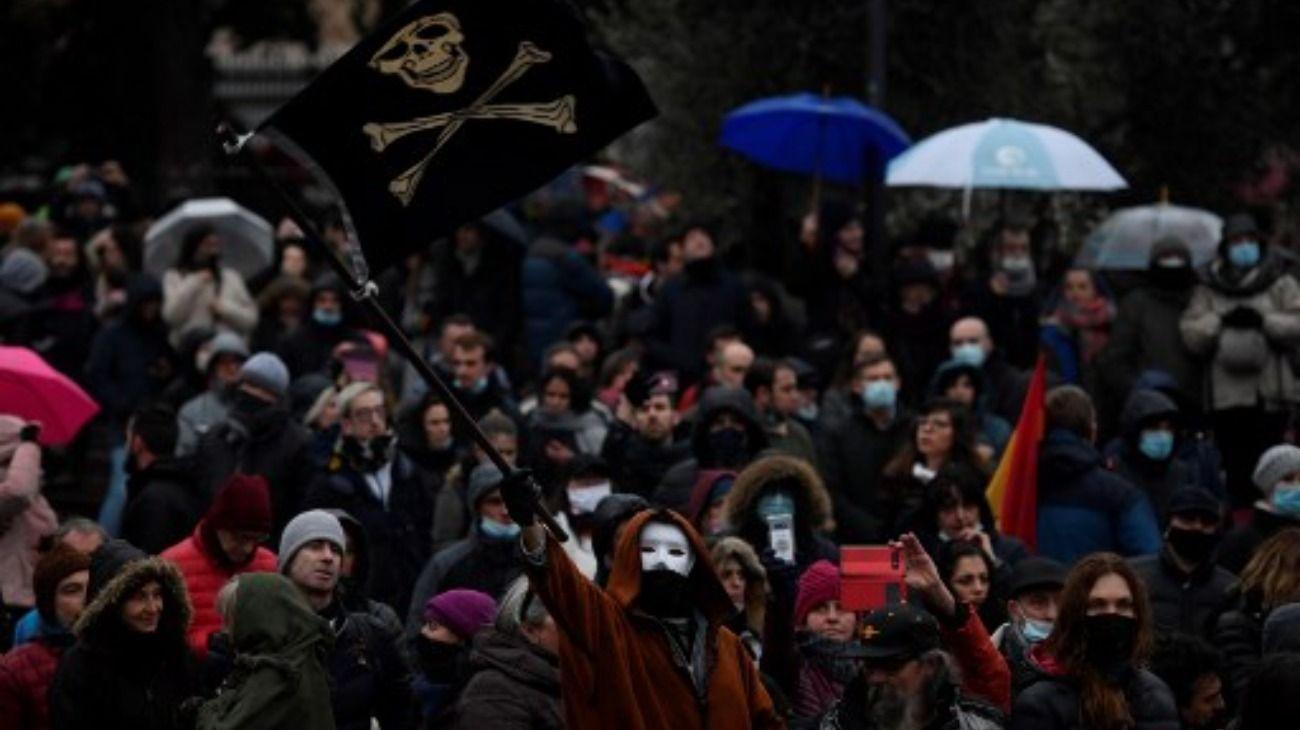 Protestas en Madrid contras las nuevas restricciones para frenar la segunda ola de Covid.