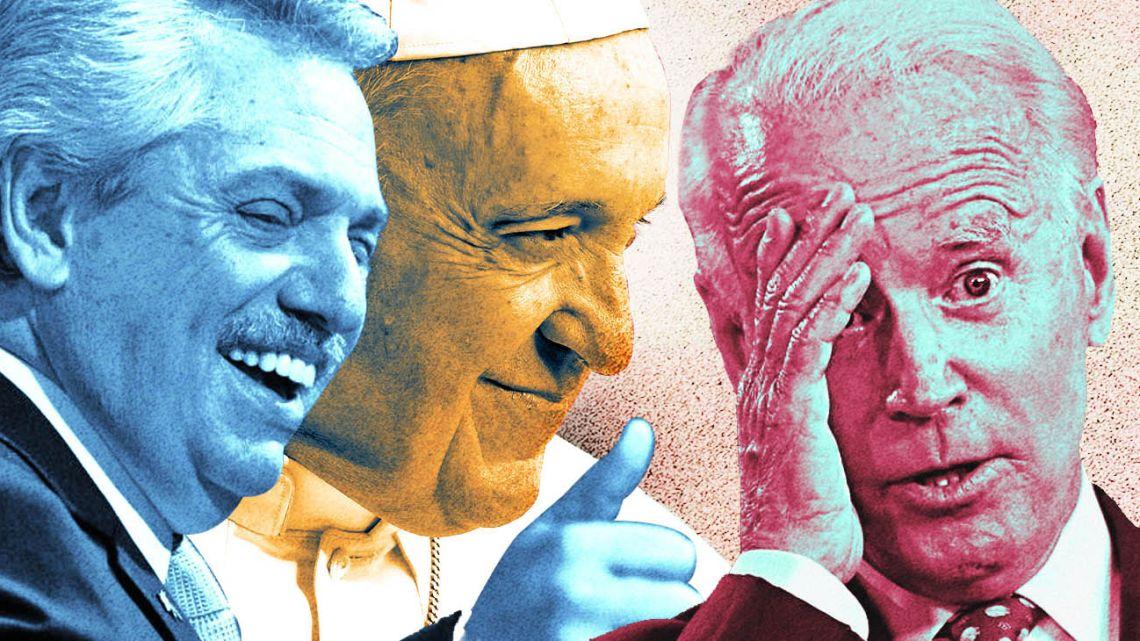 From left to right: Alberto Fernandez, Pope Francis and Joe Biden.