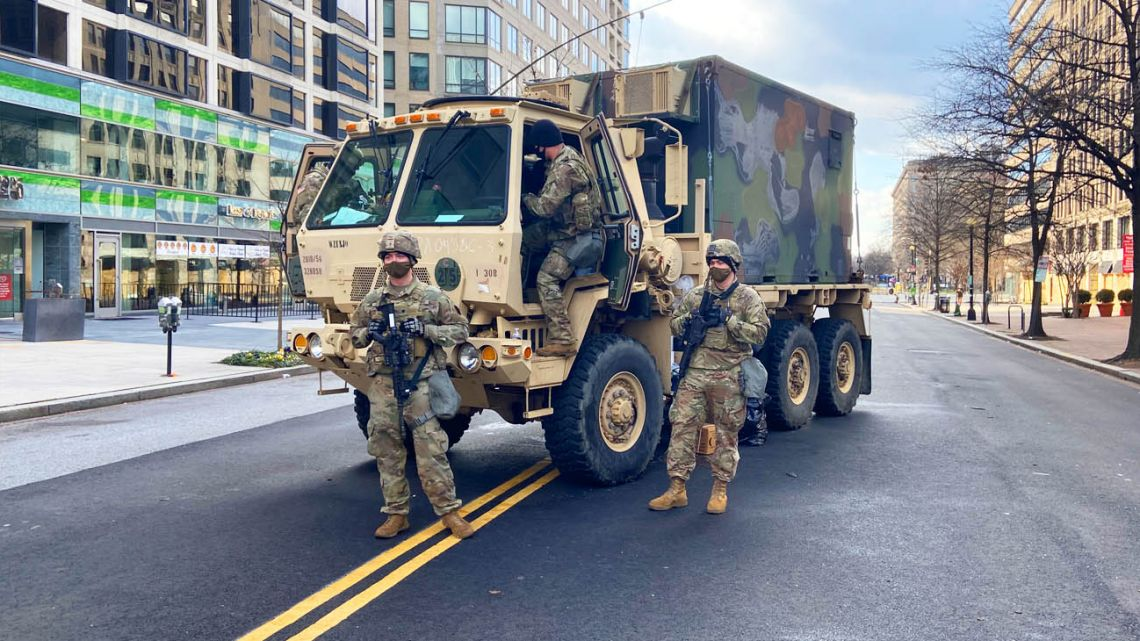 US National Guard on an empty street.