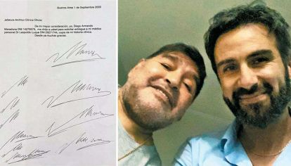Garabatos. En uno de los documentos se solicitaba la historia clínica de Maradona, dos meses antes de su muerte.