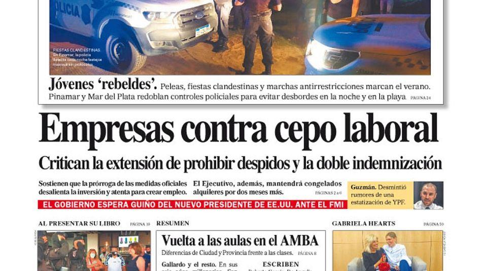 La tapa del Diario PERFIL del sábado 23 de enero de 2021.