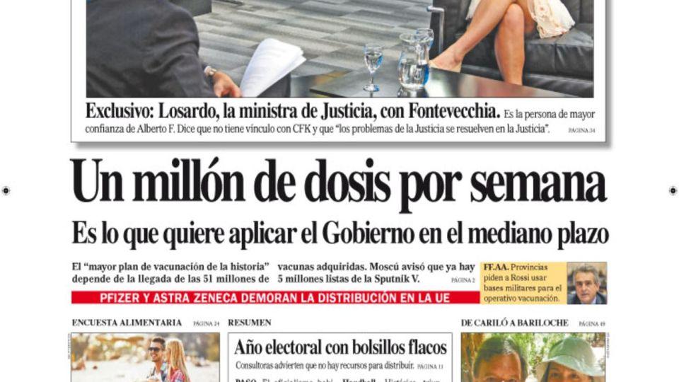 La tapa del Diario PERFIL del domingo 24 de enero 2021