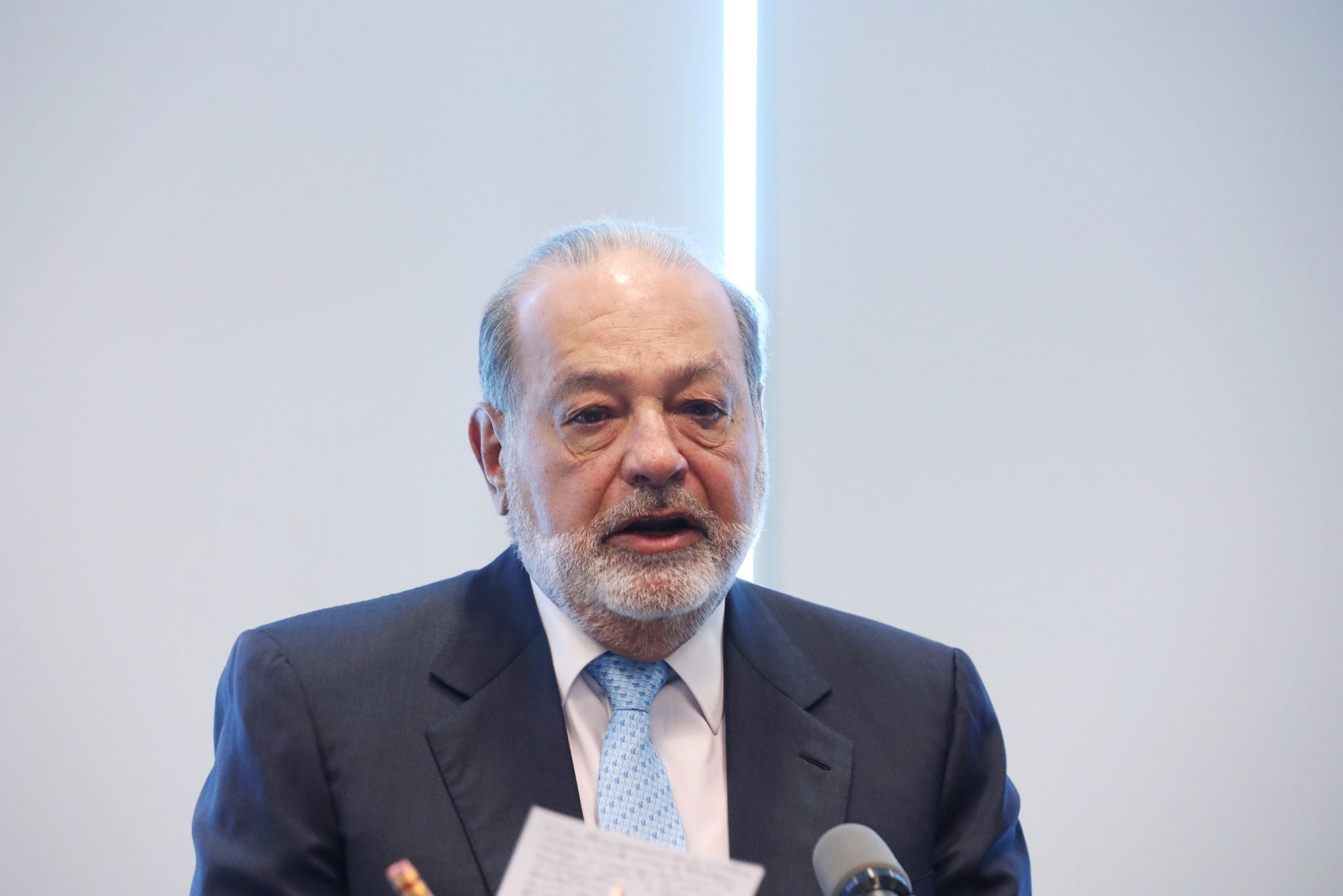 Billionaire Carlos Slim Holds News Conference