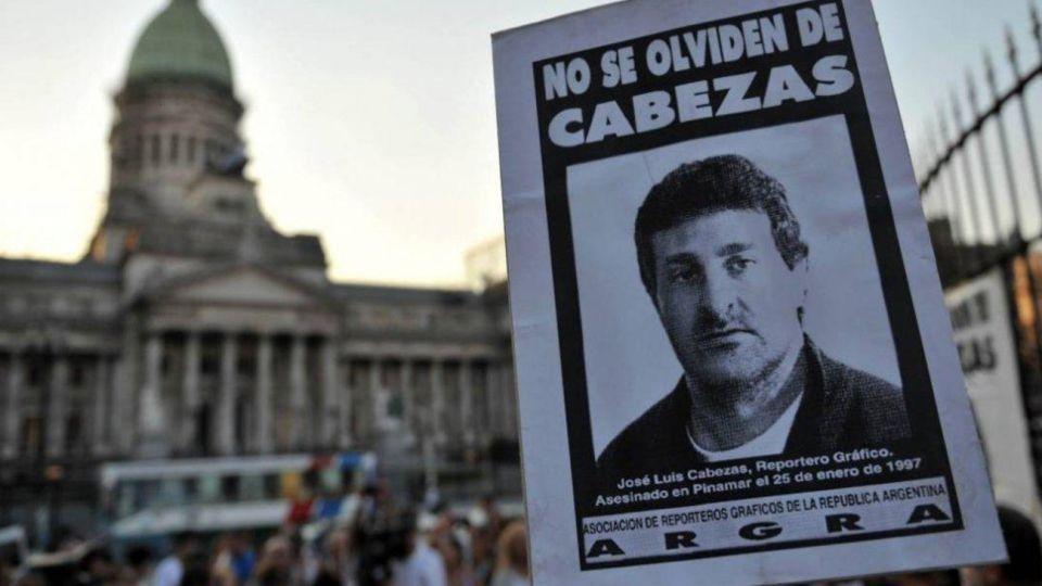 Conmemoración del periodista José Luis Cabezas en las inmediaciones del Congreso.