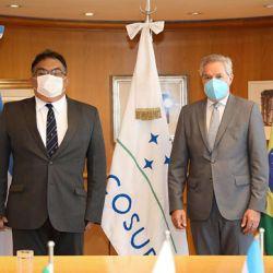 El canciller Solá con el secretario Especial de Asuntos Estratégicos de Brasil, almirante Flávio Viana Rocha.