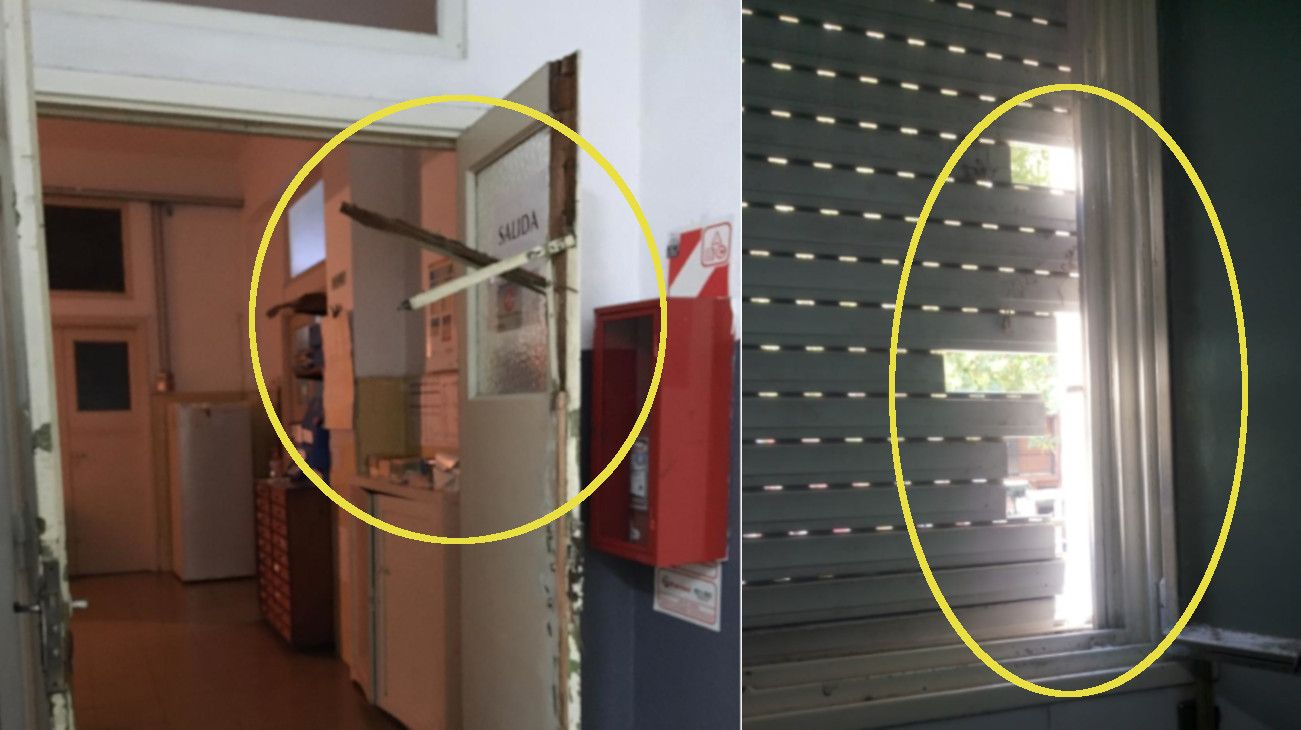 Los delincuentes ingresaron por una ventana y forzaron una puerta.
