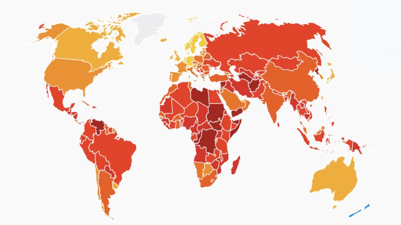 El ranking sobre el Índice de Percepción de Corrupción en América.